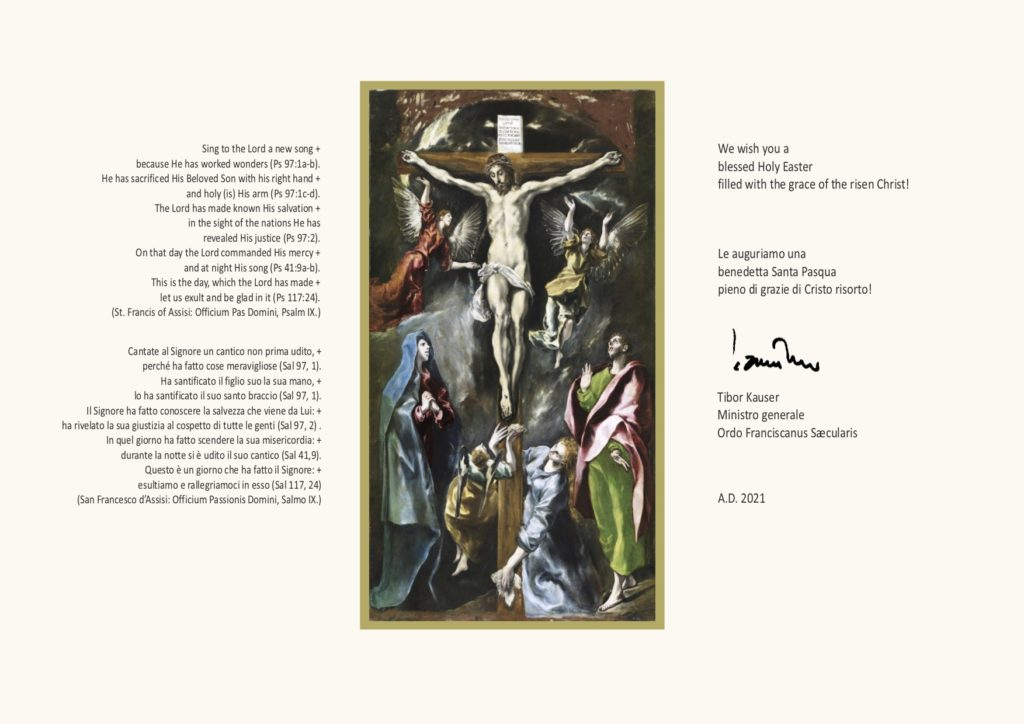 Auguri di buona Pasqua 2021 da parte di Tibor Kauser, Ministro generale dell'Ordine Francescano Secolare