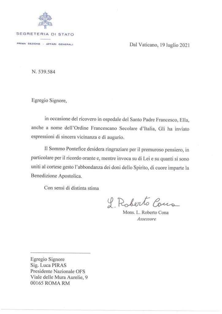 La Santa Sede risponde: in una lettera la benedizione apostolica all'OFS d'Italia